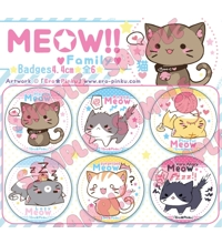 ORIGINAL MEOW!! Family [Pack 6 Holographic badges]