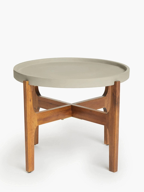 Large, Grey Tray Side Table