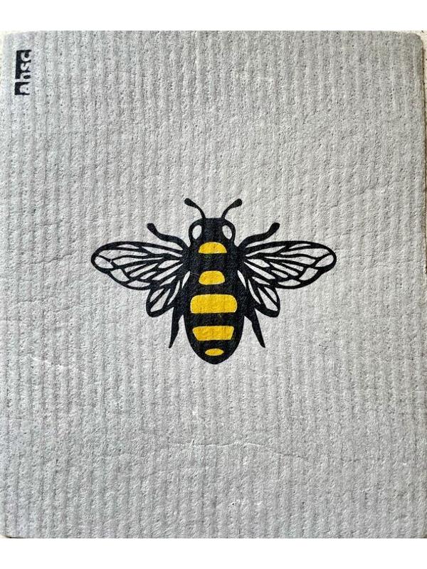 Bee Dishcloth on grey