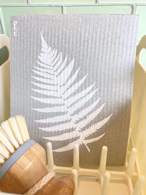 Fern Leaf Dishcloth on grey